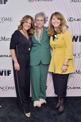 BEVERLY HILLS, CA - JUNE 13: (L-R) Women In Film, Los Angeles Board President Cathy Schulman, Frances McDormand and Dr. Stacy L. Smith attend the Women In Film 2018 Crystal + Lucy Awards present