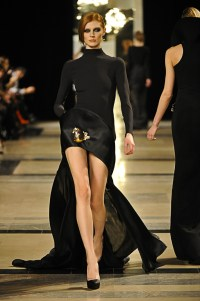 Black Crpe mull and silk satin organza Asymmetrical Sweater dress.