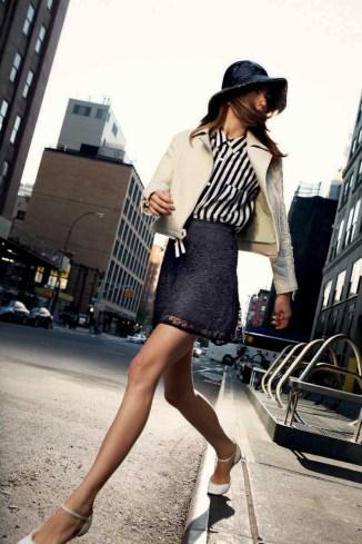 Davie Moto Jacket - Spearmint, Jaye Shirt in Vertical City Stripe, Talley Skirt