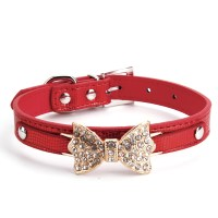 Bling Crystal Dog Pets Collar Bow Leather Pet Adjustable ...
