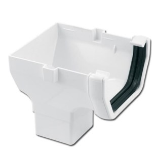 Square Gutter Run Outlet Stop End (White) | Guttering | PVC Gutter | PVC Rainwater Goods | Faster Plastics