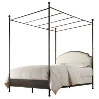 Full size Metal Canopy Bed with Cream White Linen ...