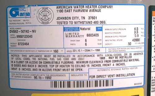 How to Find Water Heater Model Numbers Water Heater Serial Number