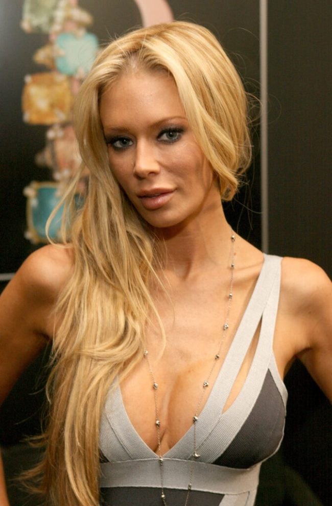 CULVER CITY, CA - MARCH 10:  Adult film star Jenna Jameson unveils her new PETA Ad during Mercedes-Benz Fashion Week held at Smashbox Studios on March 10, 2008 in Culver City, California.  (Photo by Jesse Grant/Getty Images for IMG)