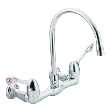 Moen 8126 Commercial Two Handle Wall Mount Kitchen Faucet Chrome - wall mount kitchen faucet