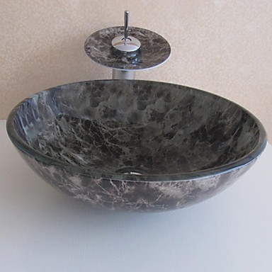 Bathroom Sink Settempered Glass Vessel Sink With