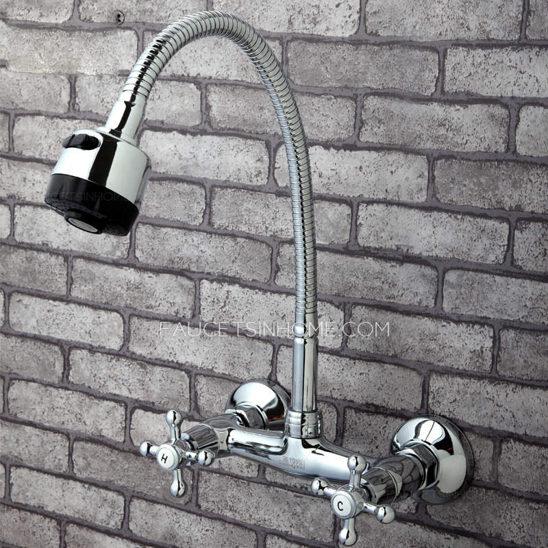 Old Full Rotatable Wall Mounted Kitchen Sink Faucet - wall mount kitchen faucet