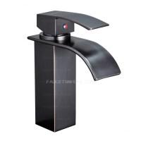 Single Lever Waterfall Matte Black Bathroom Sink Faucet ...