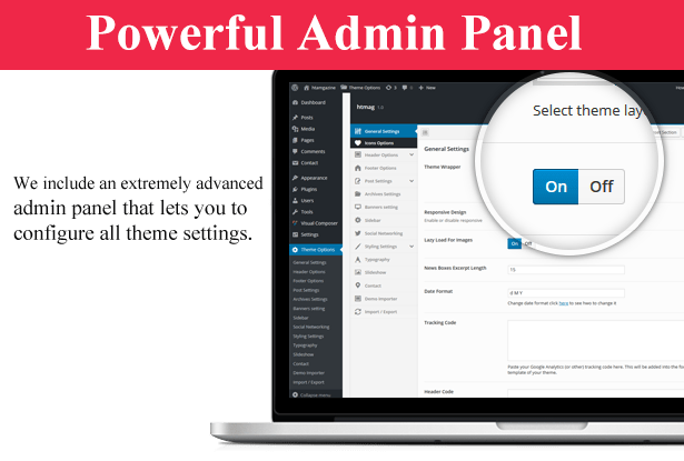 big Admin Panel - HTmagazine - Moderne Magazine,News & Blog WordPress Theme