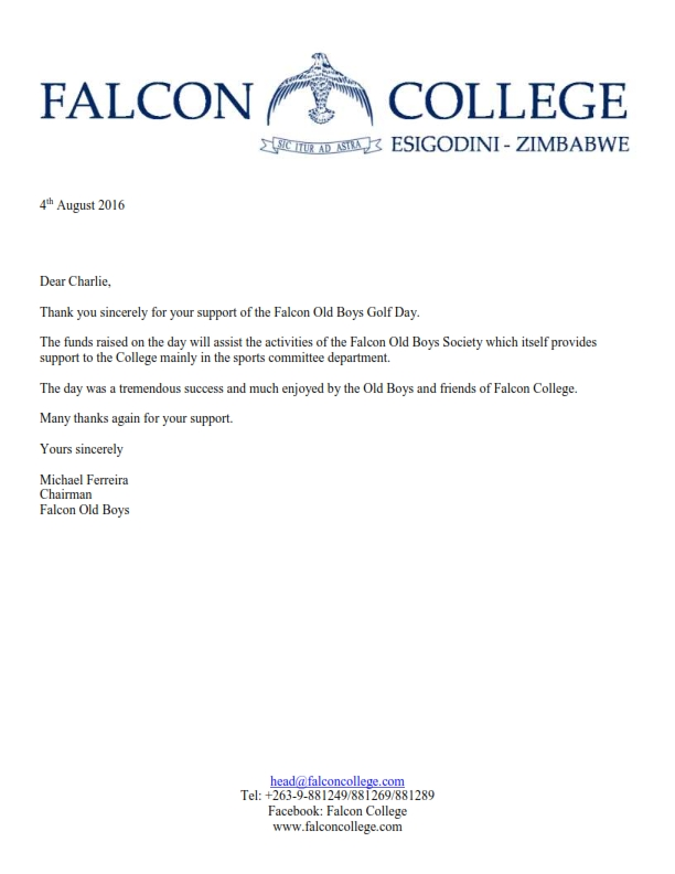 Thank You Letter - Falcon Old Boys Golf Day Sponsorship