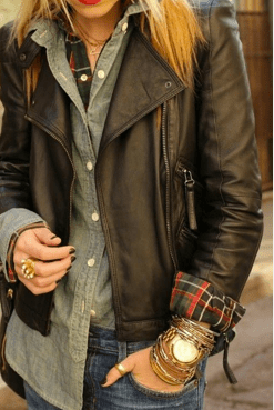 Use a leather jacket with button downs