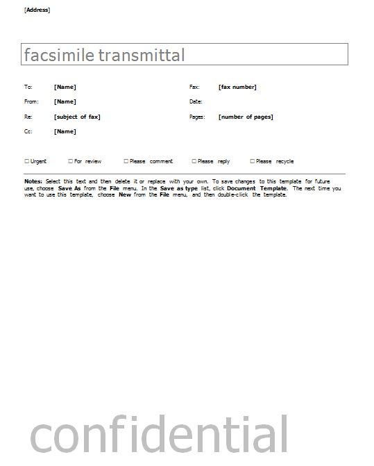 Fax Cover Sheet With Contemporary Design