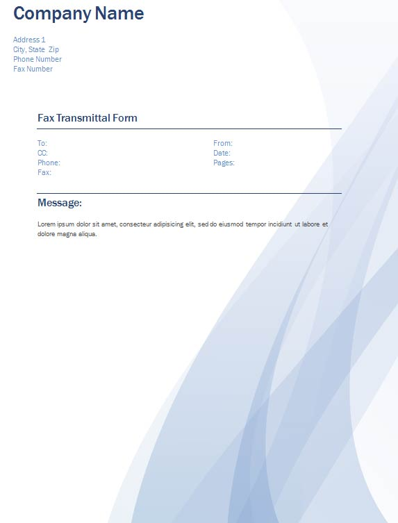 Waves Fax Transmittal Form - Sample Modern Fax Cover Sheet