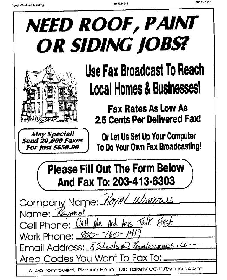 Fax Broadcast Sales Leads - Fax Sample Ads / Fax Advertisements