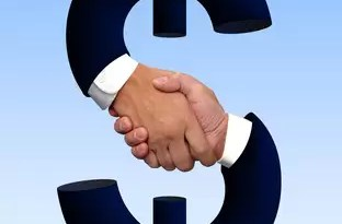 Handshake and money sign