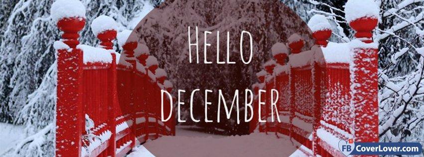 Cute Emo Love Wallpaper Hello December Snowy Red Bridge Seasonal Facebook Cover