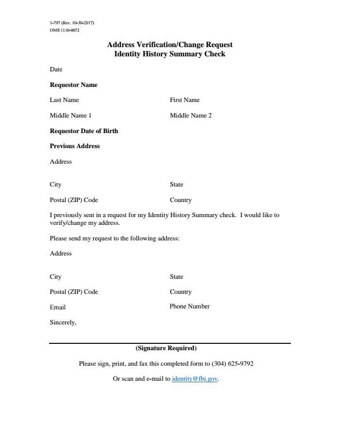 Identity History Summary Check Address Verification/Change Request \u2014 FBI