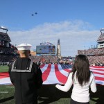 Two F-15C fighter jets fly over Gillette Stadium prior to Sunday's Patriots-Lions game as part of several game-day activities that honored veterans and active duty military members.