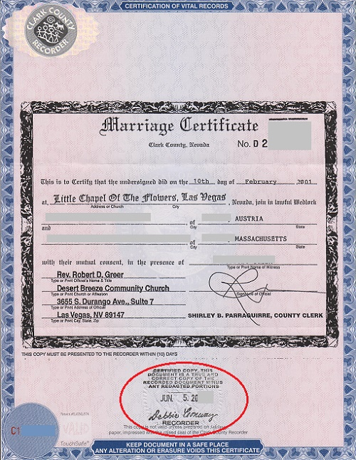 Las Vegas marriage certificate with an apostille - marriage certificate