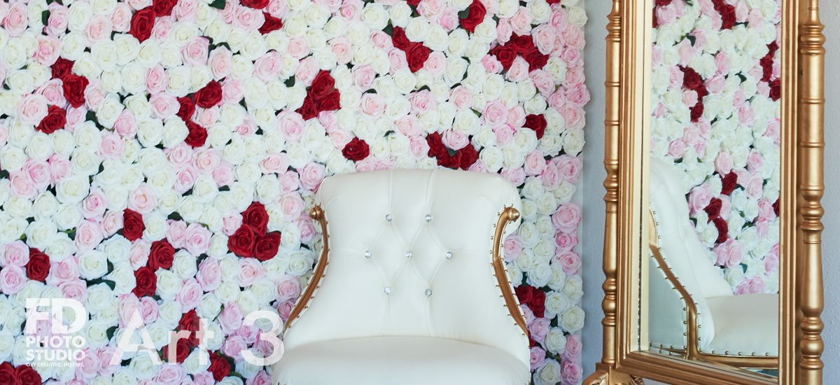 Art 3 rose wall and white furniture