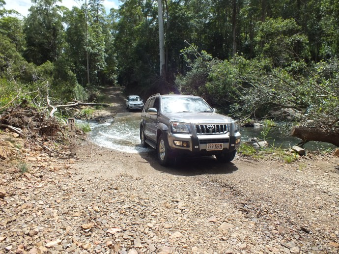 Our first creek crossing!  Off to explore the 4wd tracks