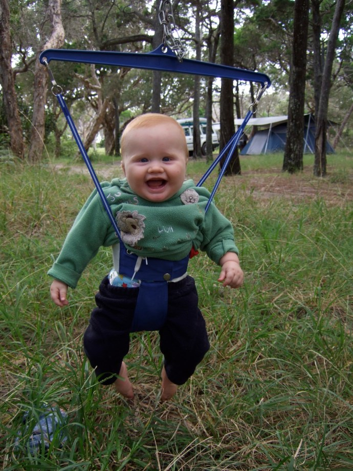Toby - 7mths pretty happy with his first camping experience!