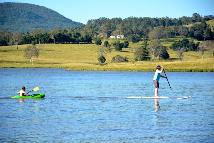 Me first go on the Stand Up Paddle Board - Jacko coming along for a paddle too.