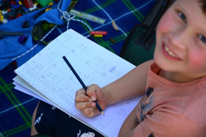 Jack doing a maths riddle that Matt made up for him