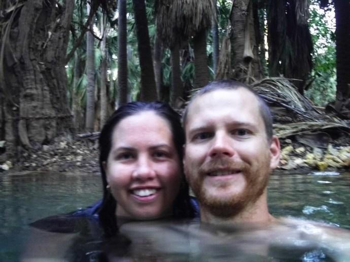 Matt & I at the Mataranka Hot Springs - photo care of Jacko