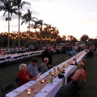 A lovely chance for the extended family on both sides to enjoy dinner under the stars on the farm.