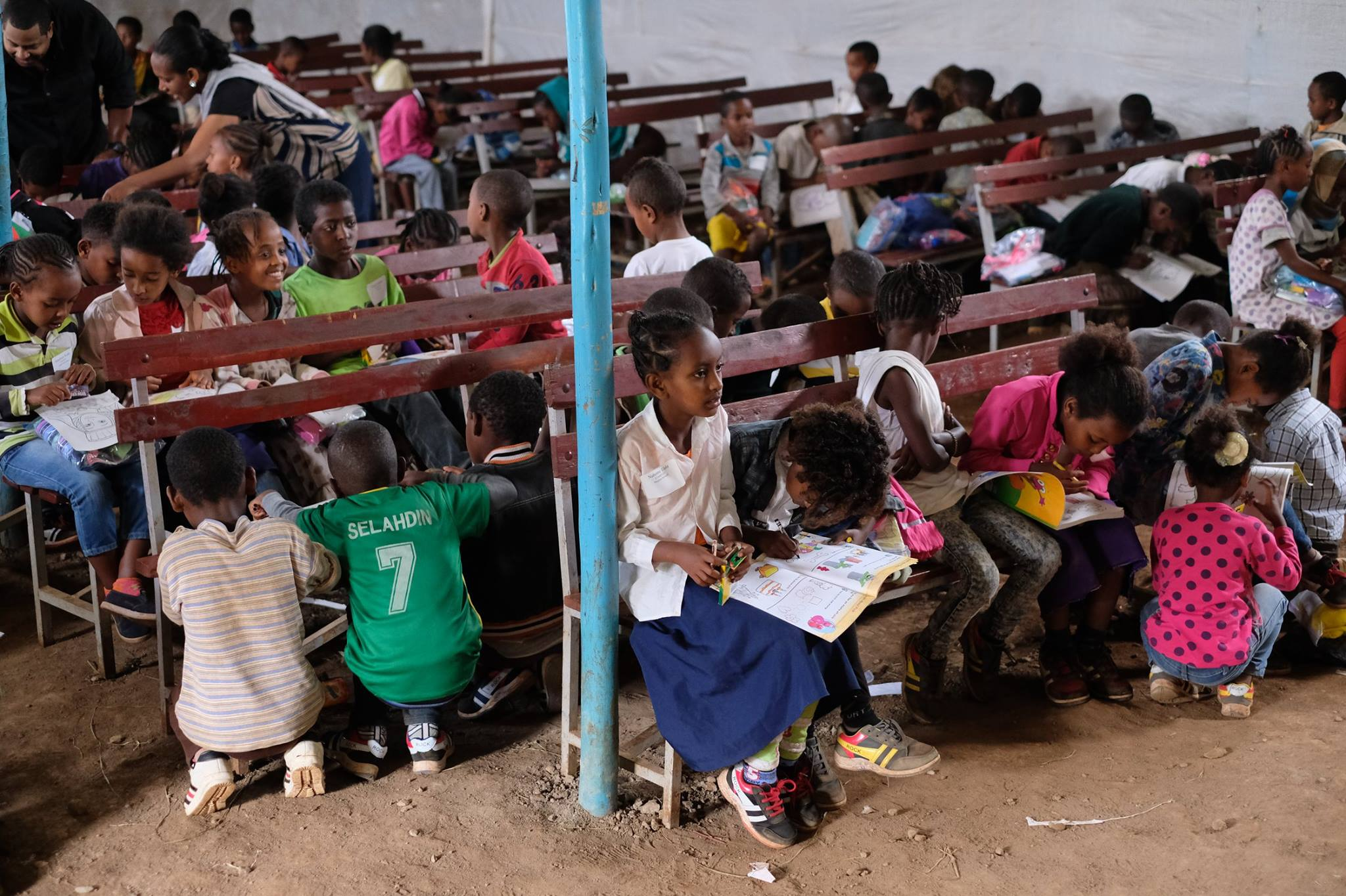 Children Coloring at CarePoint Site in Woliso, Ethiopia
