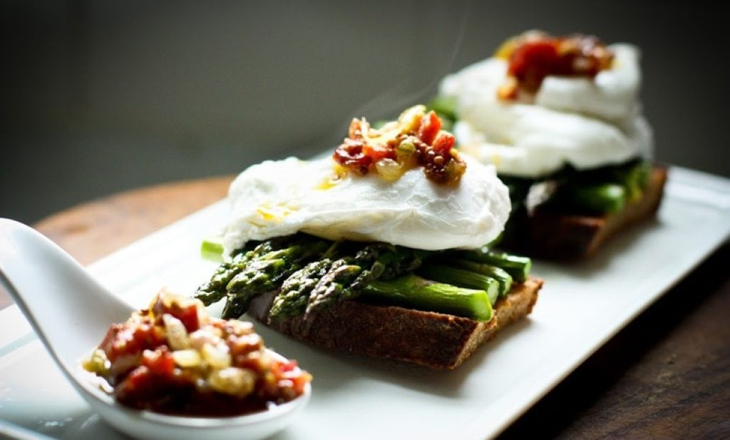 Asparagus on Toast with Poached Egg and Warm Bacon Vinaigrette | www.feastingathome.com