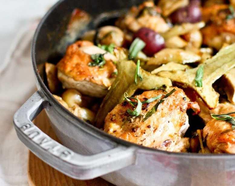 Braised Chicken with Artichokes, Leeks and Tarragon | www.feastingathome.com