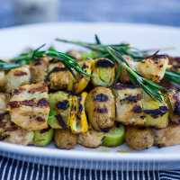 Grilled Leek, Potato and Chicken Skewers w/ Dijon and Rosemary