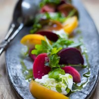 Heirloom Tomato, Beet and Burrata Salad with Basil Oil