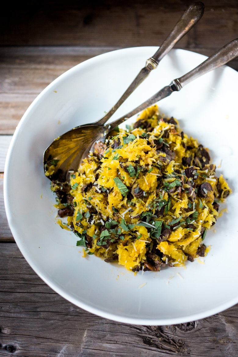 Roasted Spaghetti Squash with Mushrooms, Garlic & Sage