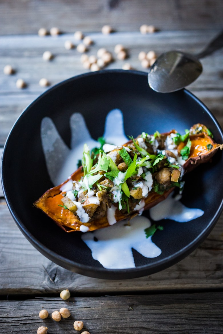 "Moroccan Stuffed Sweet Potatoes with Ras el Hanout and ""Smoked"" Yogurt"