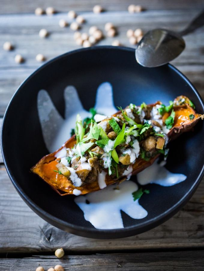 "Moroccan Sweet Potato with Ras el Hanout and ""Smoked"" Yogurt 