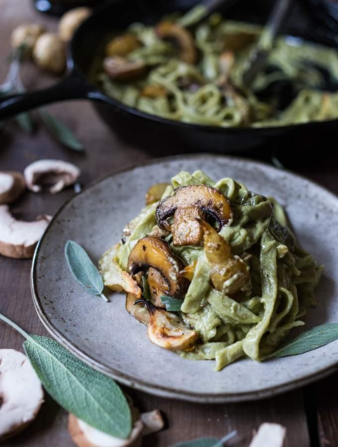 Pasta with Sunchokes, Mushrooms and Artichoke Sage Sauce WWW.FEASTINGATHOME.COM