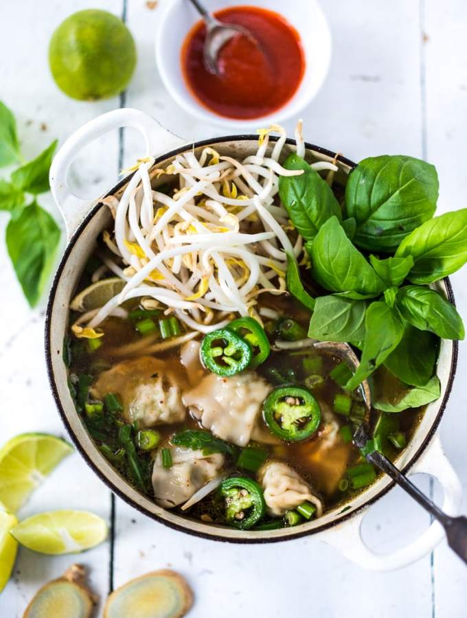 PHOTON SOUP: This recipe for Lightning Speed Photon Soup is a cross between Vietnamese Pho and Wonton Soup. The delicious soup can be made in 15 minutes flat! Healing, flavorful. | www.feastingathome.com