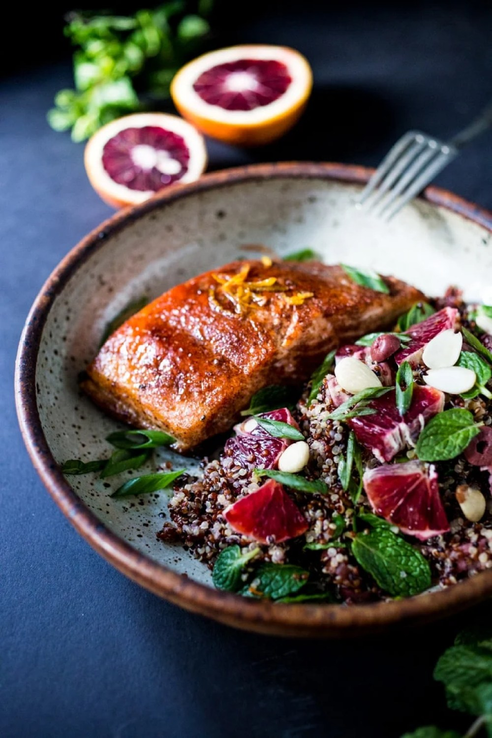 simple Moroccan Quinoa Salad with blood oranges, almonds, olives ...