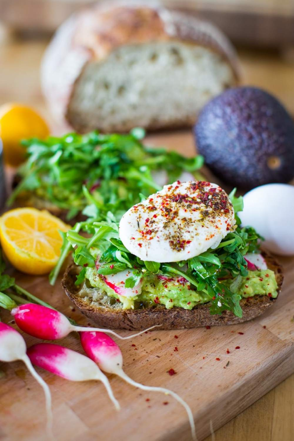 Avocado Toast with Poached Eggs, Arugula and Zaatar | Feasting At Home