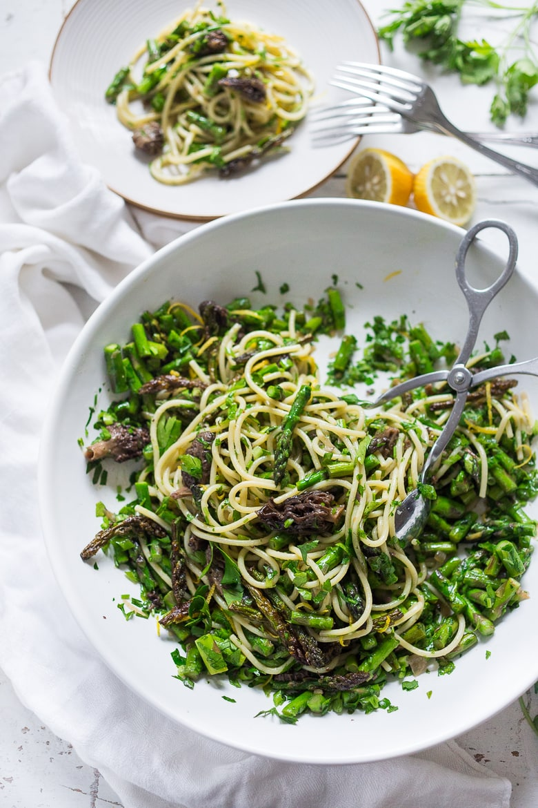Spring Pasta Salad with Asparagus, Morels & Lemon Parsley Dressing