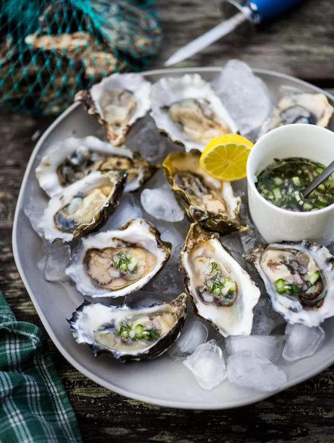 Fresh Oysters with Mustard Seed Mignonette with cucumber, shallot and dill. | www.feastingathome.com