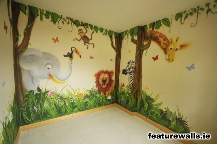Girl Room Wallpaper And Fablic With Animal Nursery Murals Toddler Murals Baby Rooms Baby Designs
