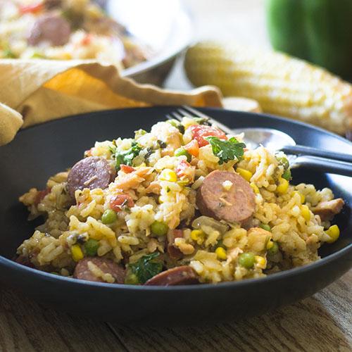 Seafood and Smoked Sausage Jambalaya #Cajun #rice #smokedsausage ...