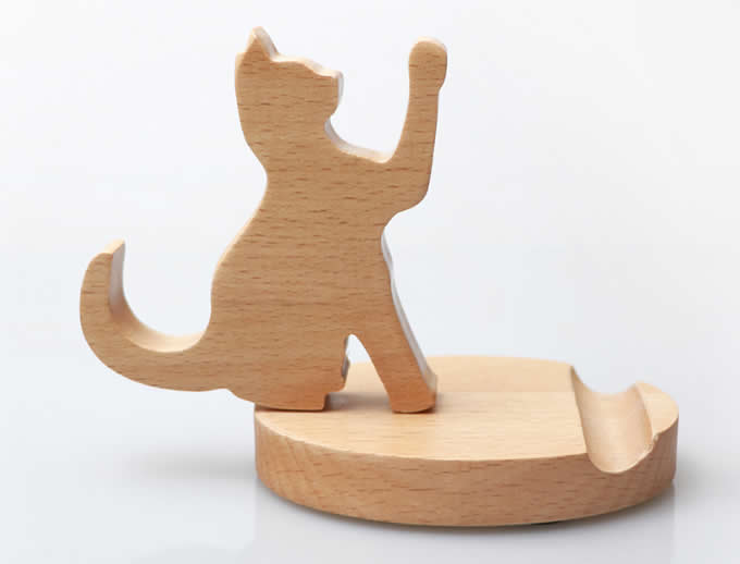 Wooden Cat Dog Cell Phone Ipad Stand Holder Feelgift
