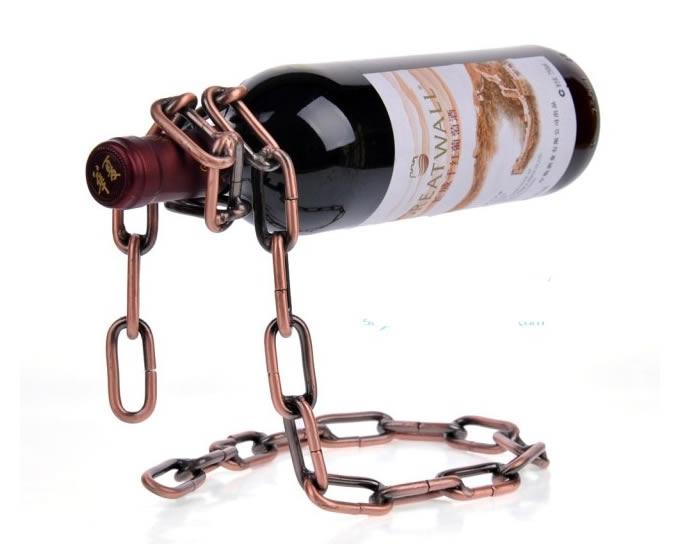 Magic Iron Chain Floating Wine Bottle Holder Feelgift