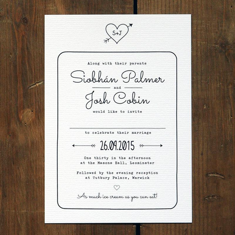 Heart and Arrow Wedding Invitation - Feel Good Wedding Invitations