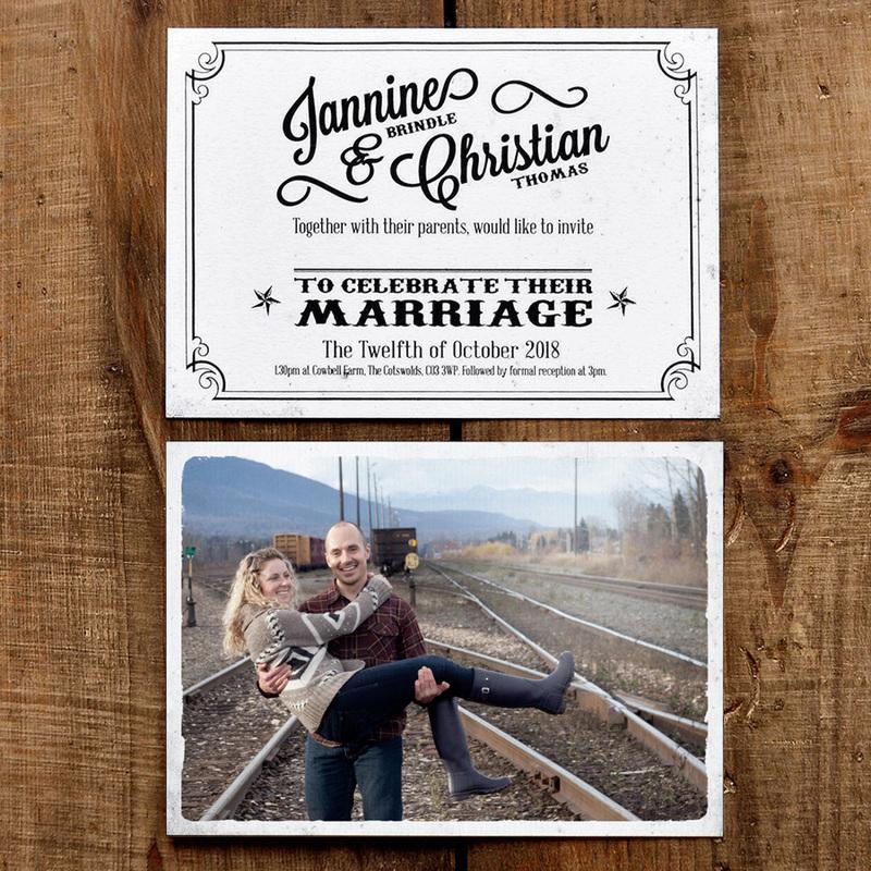 Vintage Photo Postcard Wedding Invitation - Feel Good Wedding